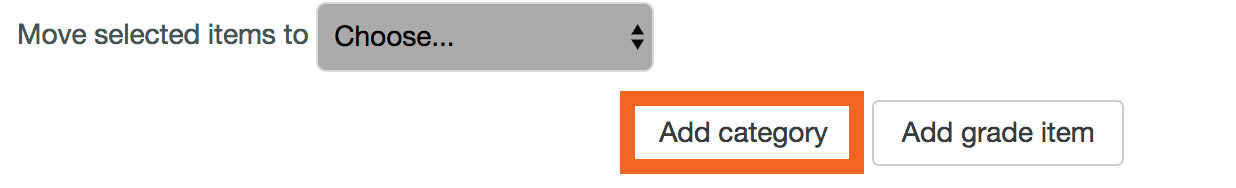 Moodle screenshot of add category button