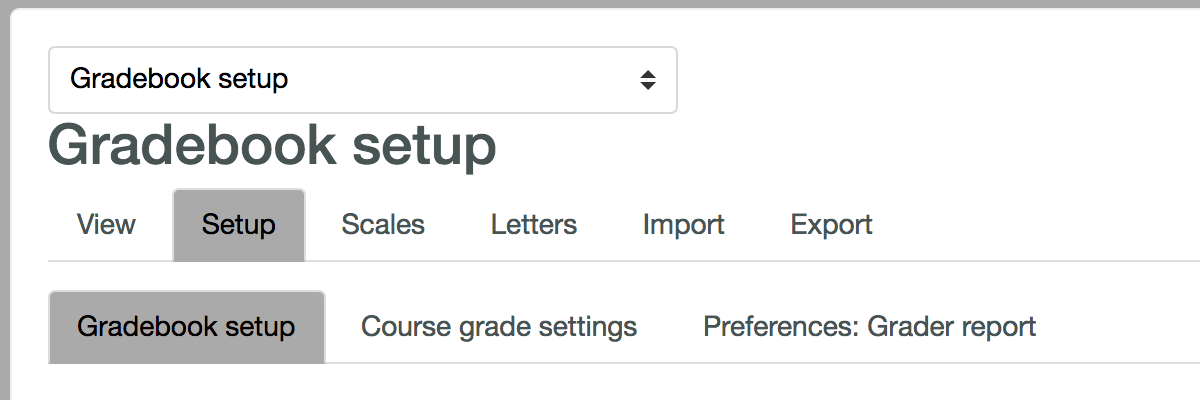 Screenshot of Moodle gradebook setup tab