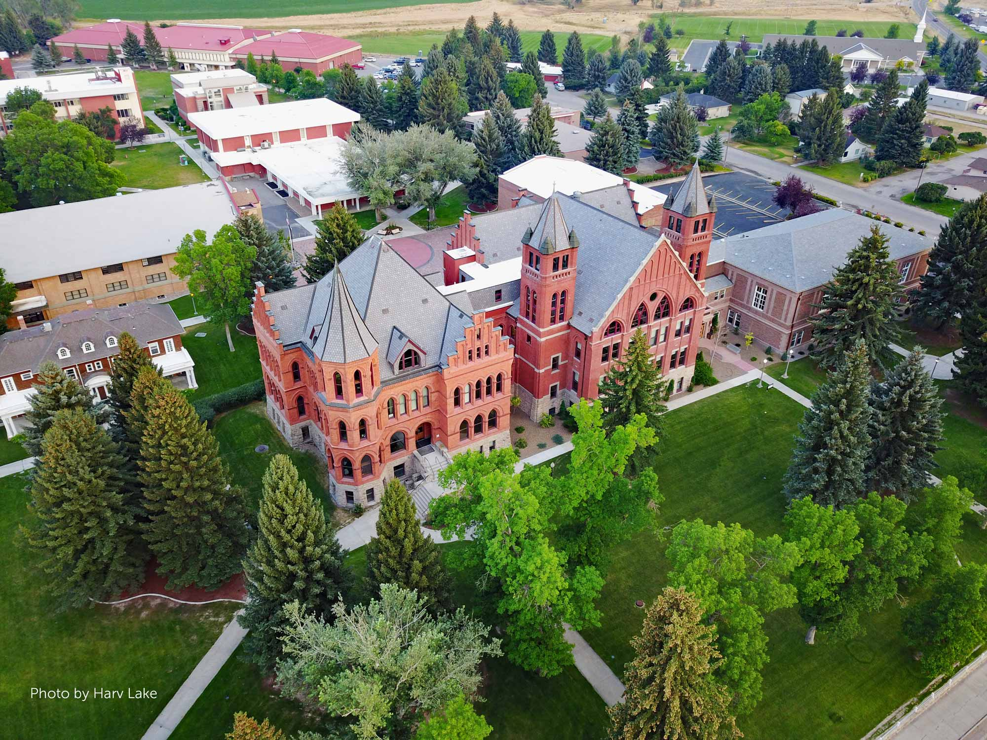 An aerial image of the University of Montana Western campus