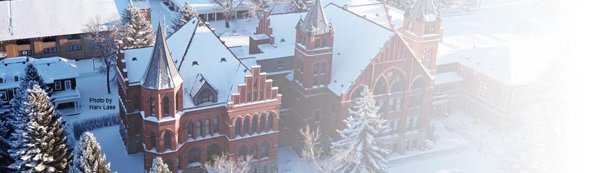 An aerial view of the University of Montana Western campus in winter